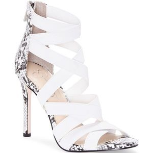 "J. Simpson bright white, elastic strap, 5""stiletto"
